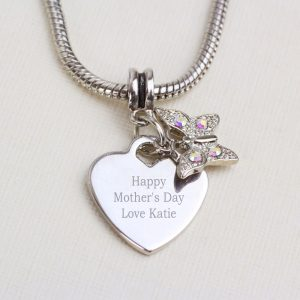 Engraved Heart & Butterfly Necklace