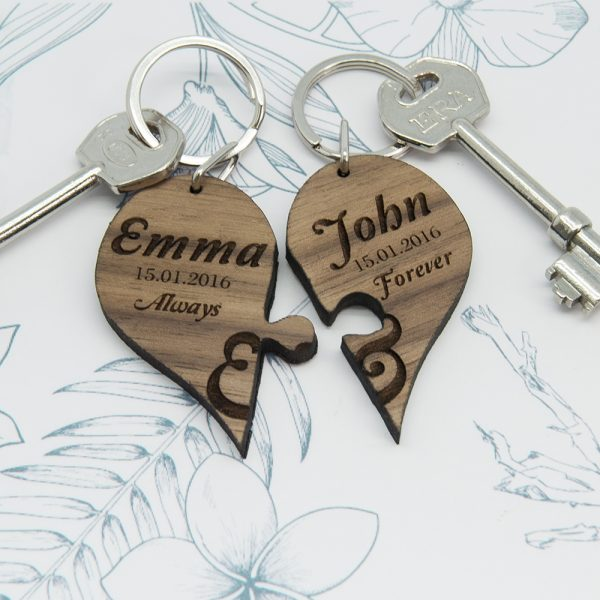Personalised Couple's Jigsaw Keyring