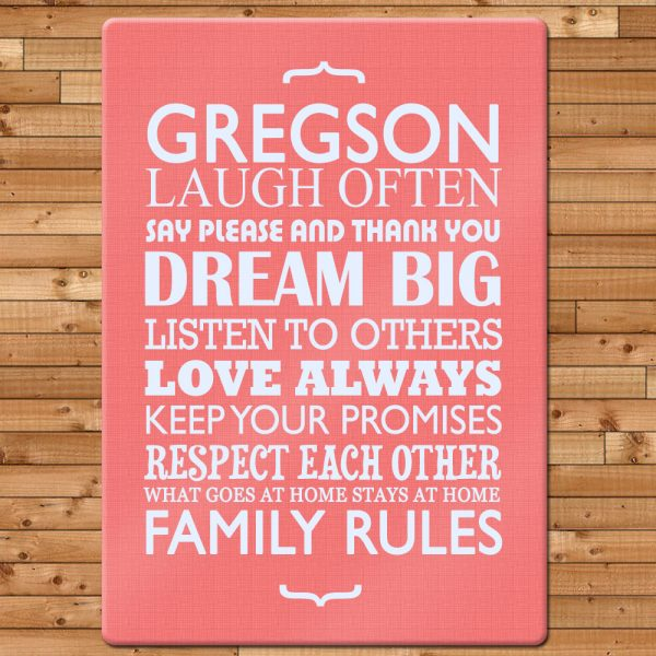 Personalised Family Rules Chopping Board
