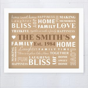 Personalised Family Typography Framed Print