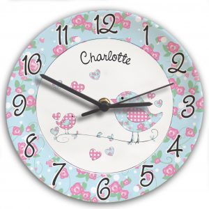 Personalised Floral Birds Clock