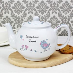 Personalised Floral Birds Teapot