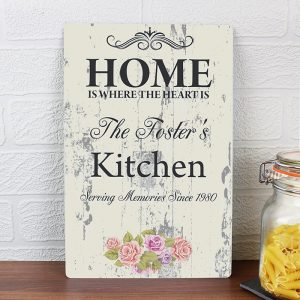 Personalised Shabby Chic Sign - Home is Where the Heart Is