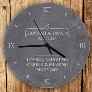 Personalised Slate Clock - Kitchen