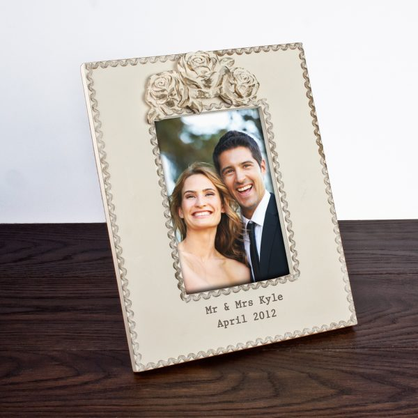 Personalised Wooden Photo Frame - Rustic Roses