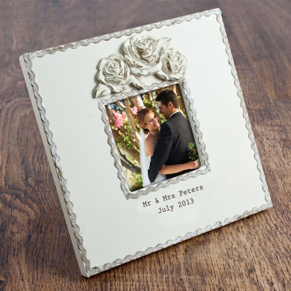 Personalised Wooden Roses Photo Frame