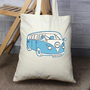 Personalised Campervan Cotton Bag Blue