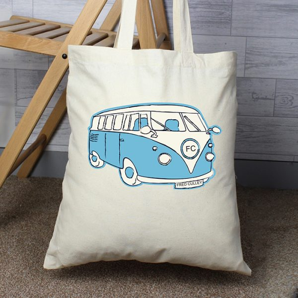 Personalised Campervan Cotton Bag Blue