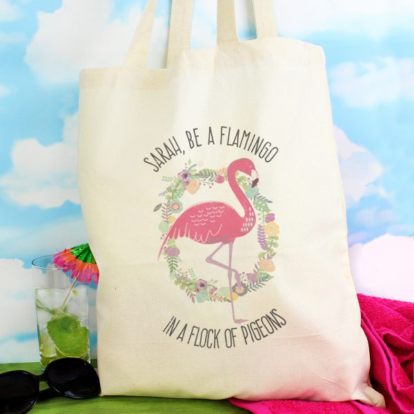 Personalised Flamingo Cotton Shopping Bag