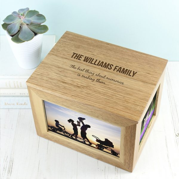 Personalised Midi Family Oak Photo Cube