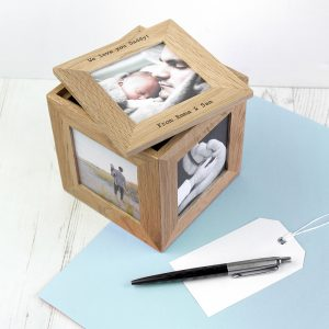 Personalised Oak Photo Cube