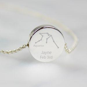 Personalised Aquarius Star Sign Zodiac Necklace