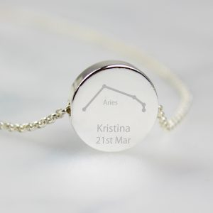 Personalised Aries Zodiac Star Sign Necklace