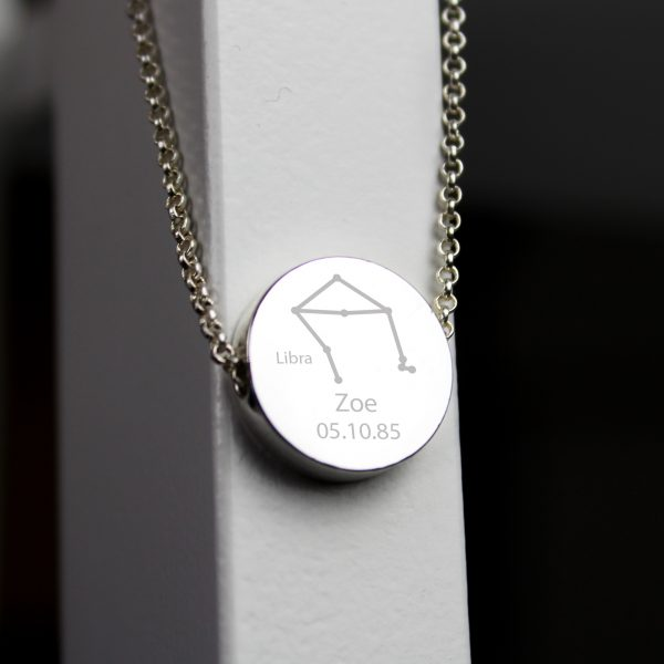 Personalised Libra Star Sign Zodiac Necklace