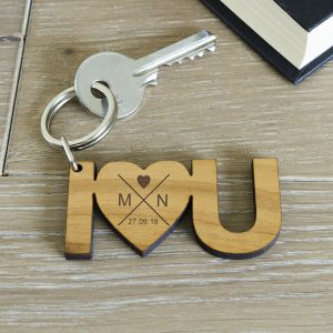 I Heart U Personalised Wooden Keyring