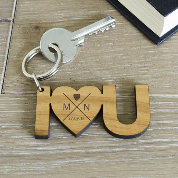 I Heart U Personalised Wooden Keyring