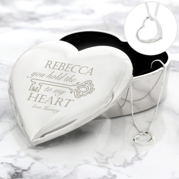 Personalised Key to My Heart Trinket Box & Necklace Set