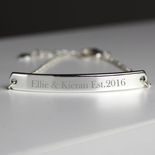 Personalised Silver Tone Bar Bracelet