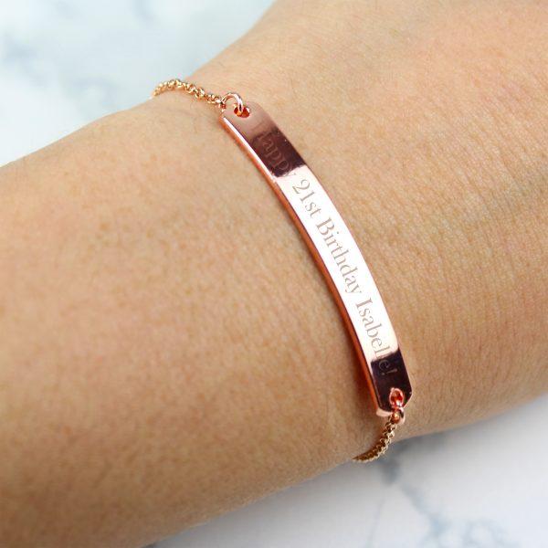 Personalised Rose Gold Bar Bracelet