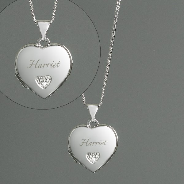 Personalised Silver Heart Locket Necklace