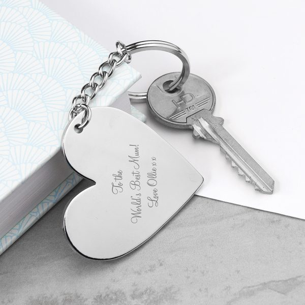 Personalised Silver Plated Heart Keyring
