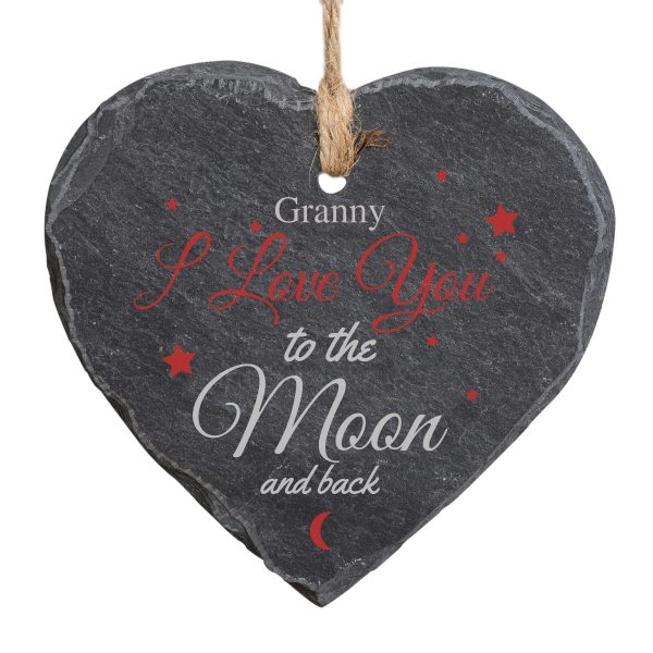 Personalised To The Moon and Back Slate Heart
