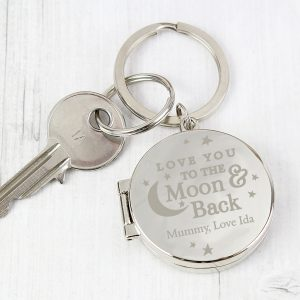 Moon and Back Photo Keyring
