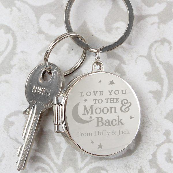 Moon and Back Personalised Photo Keyring