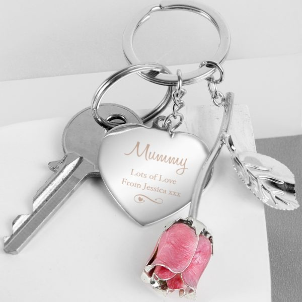 Personalised Heart Rose Keyring