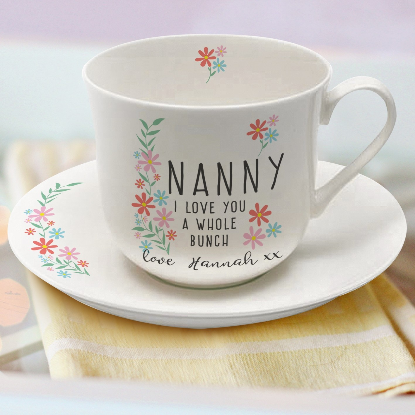 I Love You A Whole Bunch Personalised Tea Cup Saucer
