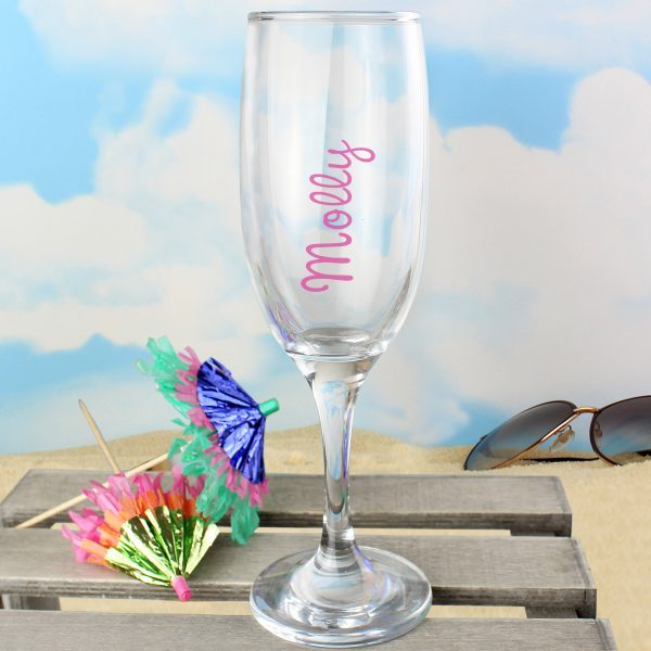 Personalised Island Flute Glass