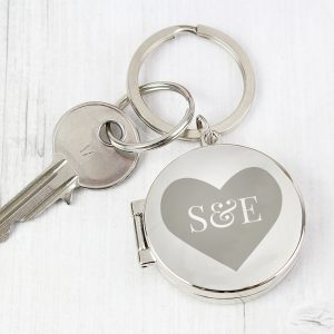 Personalised Couples Initials Photo Keyrng