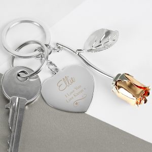 Personalised Rose Keyring