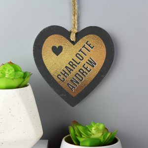 Personalised Gold Slate Heart