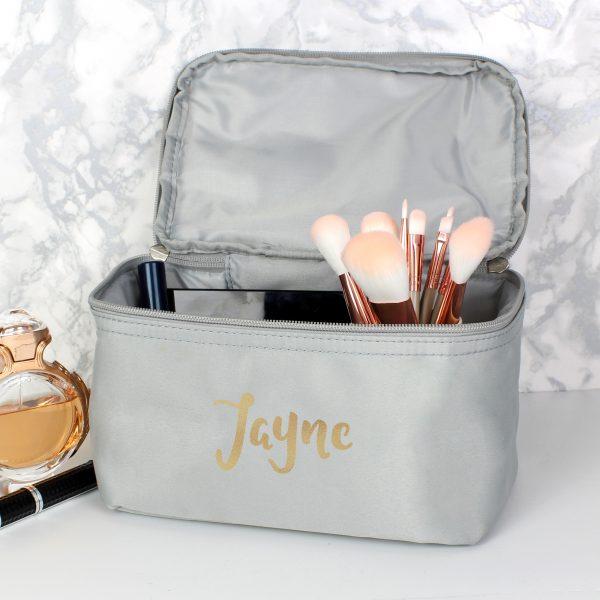 Personalised Gold Name Grey Make Up Bag