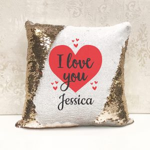 Personalised I Love You Sequin Cushion