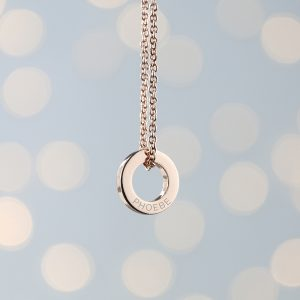 Personalised Mini Ring Necklace Rose Gold