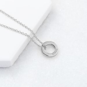 Personalised Mini Ring Necklace Silver