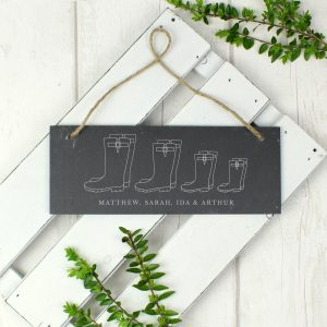 Personalised Welly Boot Hanging Slate plaque