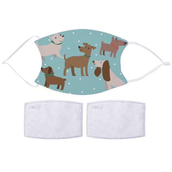 Fabric Facemask Blue Dog Design