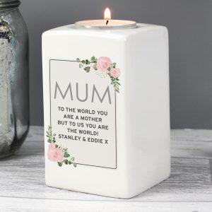 Personalised Floral Sentimental Ceramic Tea Light Candle Holder