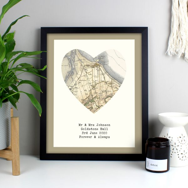 1896-1904 Revised Map Heart Black Framed Print