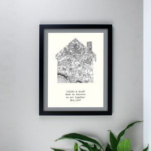 1805 - 1874 Old Series Map Home Black Framed Print