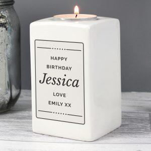 Personalised Ceramic Tea Light Candle Holder