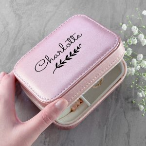 Pink Wreath Travel Jewellery Case