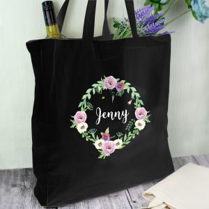 Personalised Floral Black Cotton Bag