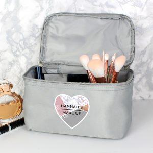 Personalised Geometric Grey Vanity Bag