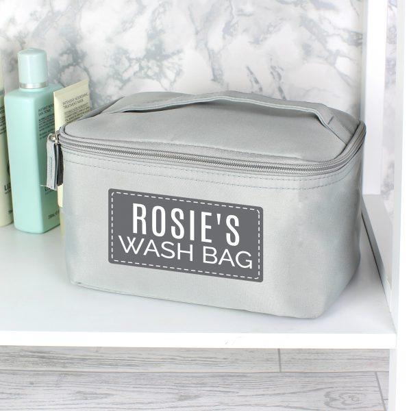 Personalised Classic Grey Vanity Bag