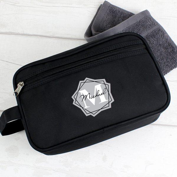 Personalised Geometric Initial Black Vanity Bag