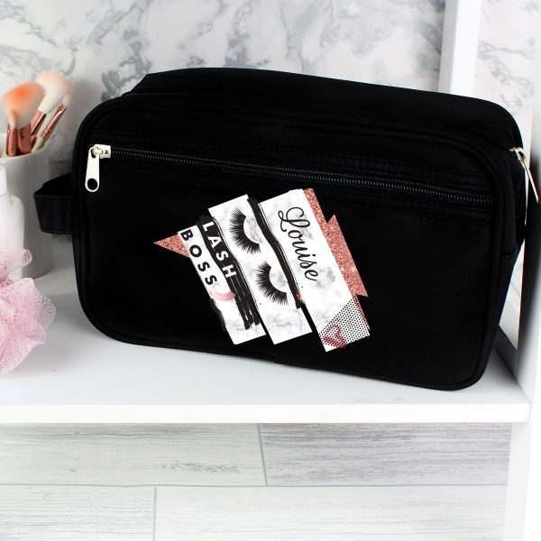 Personalised Eyelash Boss Black Vanity Bag